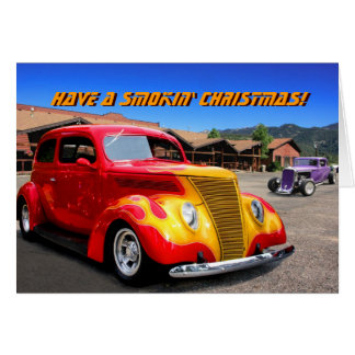 Carte de Noël flamme-rouge de voiture de hot rod