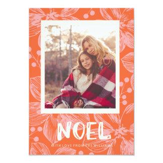 carte de Noël florale rouge de noel Carton D'invitation 12,7 Cm X 17,78 Cm