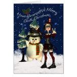Carte de Noël gothique, H.I.P. Et bonhomme de neig