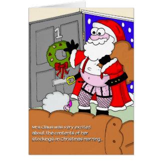 Carte de Noël grossière - Père Noël dans les bas