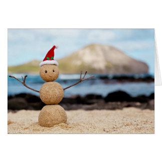 Carte de Noël hawaïenne de bonhomme de neige