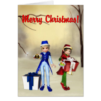 Carte de Noël heureuse d'elfes