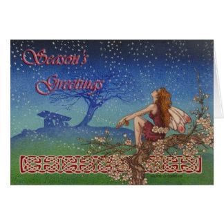 Carte de Noël irlandaise celtique féerique de