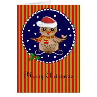 Carte de Noël mignonne avec le hibou et le texte