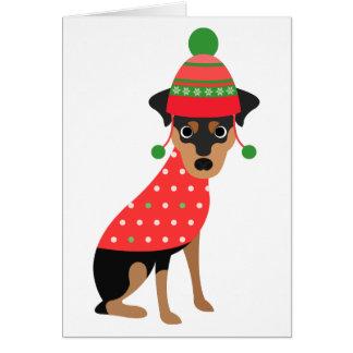 Carte de Noël mignonne de chien de Pin de minute