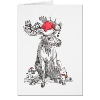 Carte de Noël mignonne d'orignaux de Taureau de
