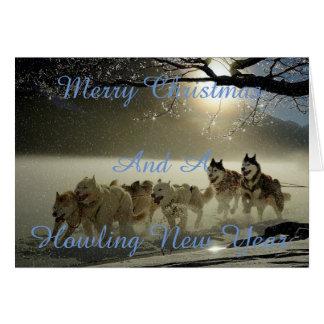 Carte de Noël neigeuse de chien