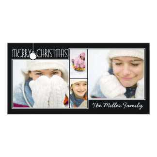 Carte de Noël noire accrochante de collage d'ornem Cartes Avec Photo