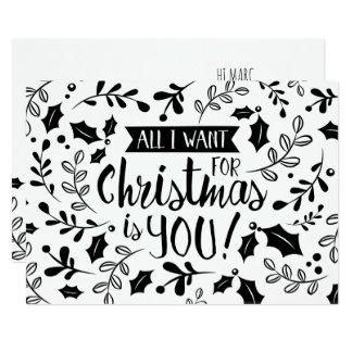 Carte de Noël noire et blanche tous je veux des