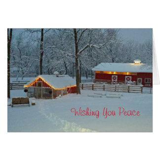 Carte de Noël paisible de scène de ferme de Milou