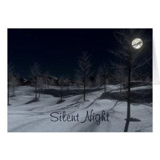 Carte de Noël paisible d'hiver de nuit silencieuse