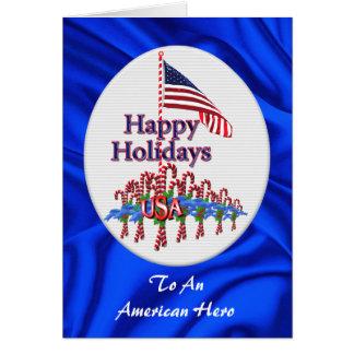 Carte de Noël patriotique de sucres de canne