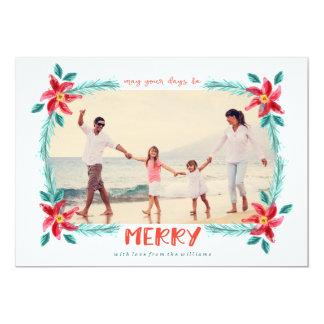 Carte de Noël PEINTE d'AQUARELLE Carton D'invitation 12,7 Cm X 17,78 Cm