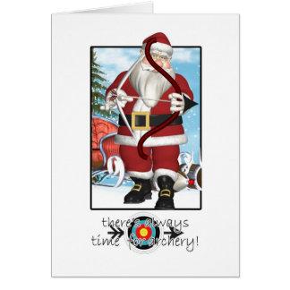 Carte de Noël, Père Noël jouant au tir à l'arc