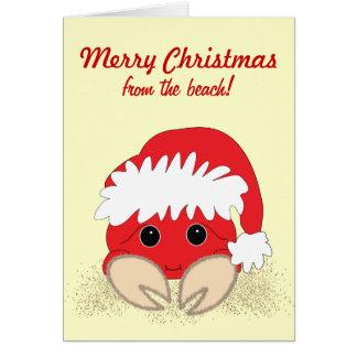 Carte de Noël personnalisable de crabe de plage de
