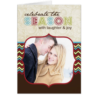Carte de Noël personnalisable de photo de Chevron
