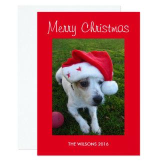 Carte de Noël personnalisée de photo de chien Carton D'invitation 12,7 Cm X 17,78 Cm