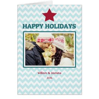 Carte de Noël pliée de rouge bleu de Chevron d'éto