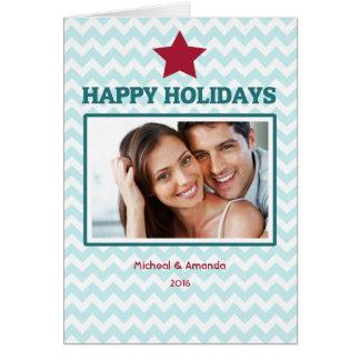 Carte de Noël pliée de rouge bleu de mod Chevron