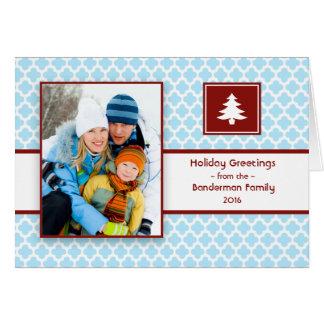 Carte de Noël pliée de rouge bleu de Quatrefoil