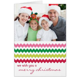 Carte de Noël pliée lumineuse chic de Chevron