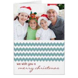 Carte de Noël pliée par bleu chic de Chevron