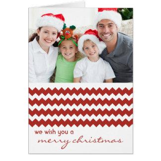 Carte de Noël pliée par rouge chic de Chevron