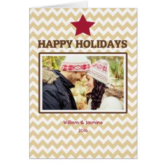 Carte de Noël pliée par rouge de Chevron Brown d'é