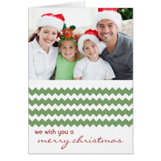 Carte de Noël pliée par vert chic de Chevron