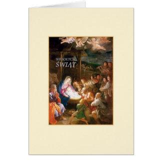 Carte de Noël polonaise de nativité de cru
