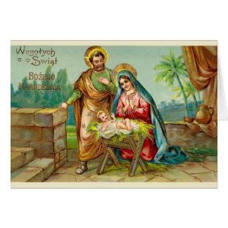 Carte de Noël polonaise religieuse vintage