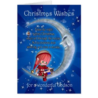 Carte de Noël, pour le filleul - nuit avant Noël