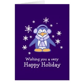 Carte de Noël pourpre de pingouin