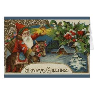 Carte de Noël primitive démodée de Père Noël