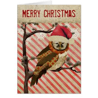 Carte de Noël rayée de hibou de mamans