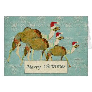 Carte de Noël rêveuse de chameaux
