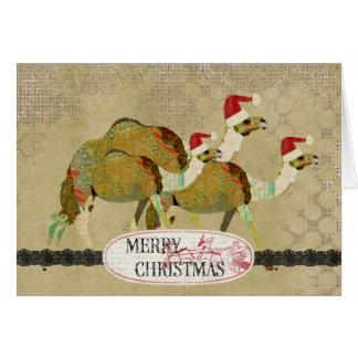 Carte de Noël rêveuse vintage de chameaux