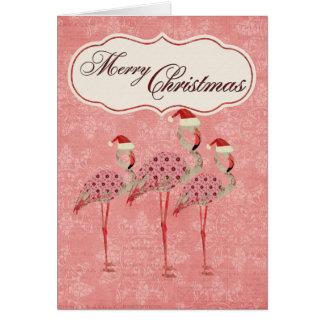Carte de Noël rose de flamants