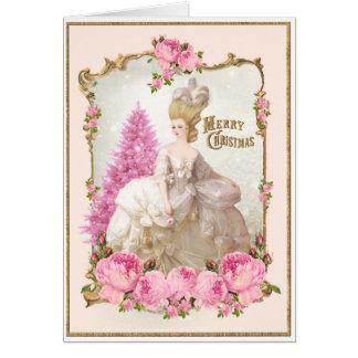 Carte de Noël rose de roses d'arbre de Marie