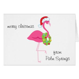 Carte de Noël rose personnalisée de Père Noël de f