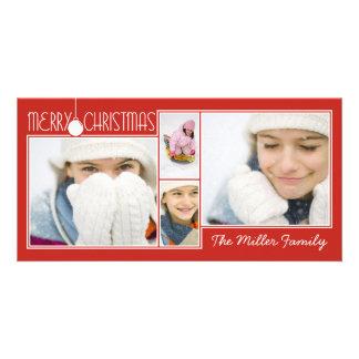 Carte de Noël rouge accrochante simple de collage  Photocartes Personnalisées