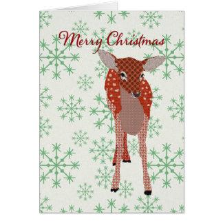 Carte de Noël rouge de fête de flocons de neige de