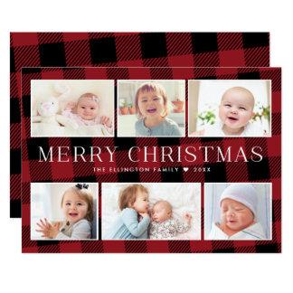Carte de Noël rouge de galerie de photos de plaid