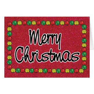 Carte de Noël rouge de perle de parties