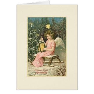 Carte de Noël russe vintage d'ange