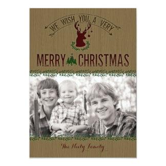Carte de Noël rustique de photo de cerfs communs Carton D'invitation 12,7 Cm X 17,78 Cm