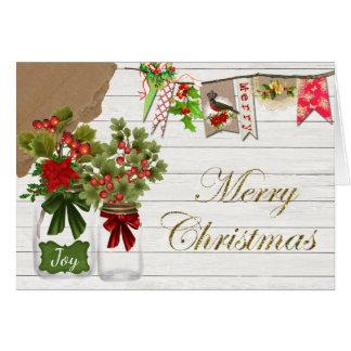 Carte de Noël rustique de pot de maçon de pays