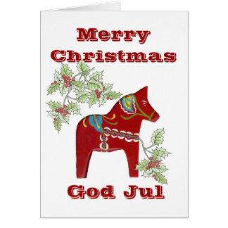Carte de Noël suédoise de cheval de Dala