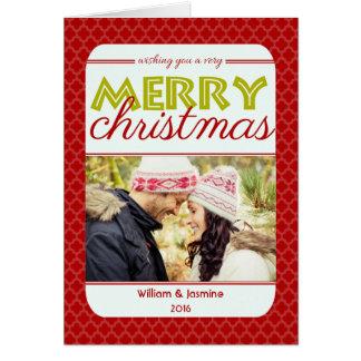 Carte de Noël très Joyeux de rouge de Quatrefoil