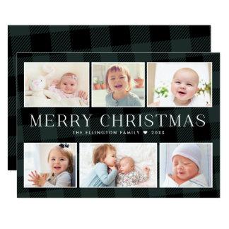 Carte de Noël verte de galerie de photos de plaid